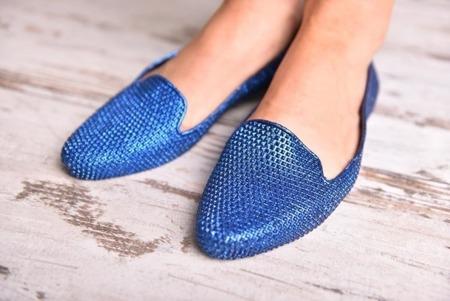 Balerinki niebieskie błyszczące