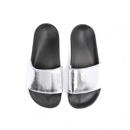 Klapki damskie czarno- srebrne metaliczne
