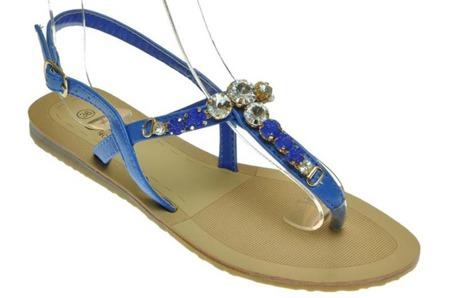 Sandały japonki damskie szafirowe