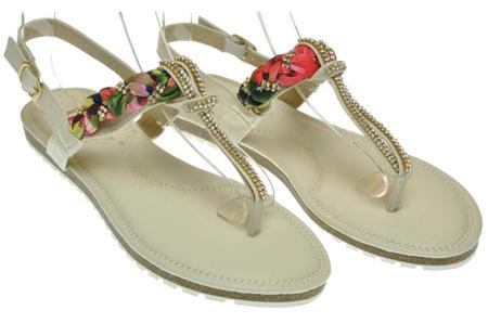 Sandały japonki damskie białe zdobienie kwiaty