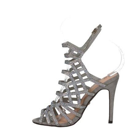 Srebrne ażurowe sandały na szpilce