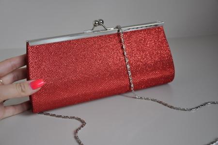 Torebka kopertówka czerwona mieniąca wieczorowa